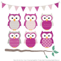 Pattern Zoo Fuchsia Patterned Owl Clipart & Patterns