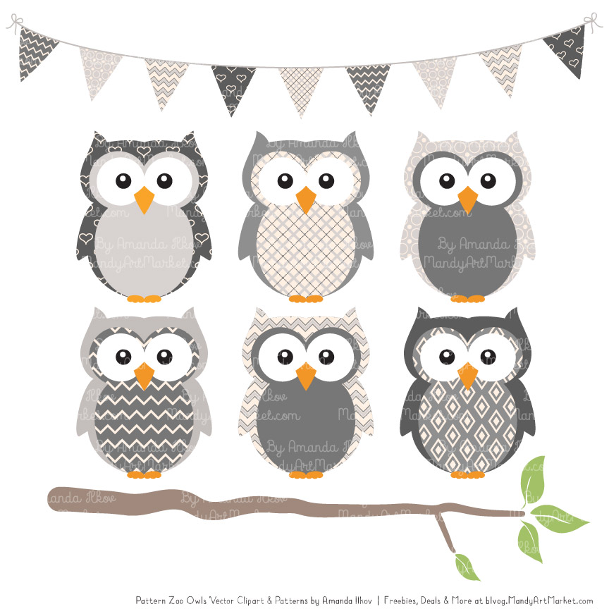 Grey Patterned Owl Clipart & Patterns