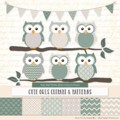 Pattern Zoo Hemlock Patterned Owl Clipart & Patterns