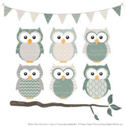 Pattern Zoo Hemlock Patterned Owl Clipart & Patterns