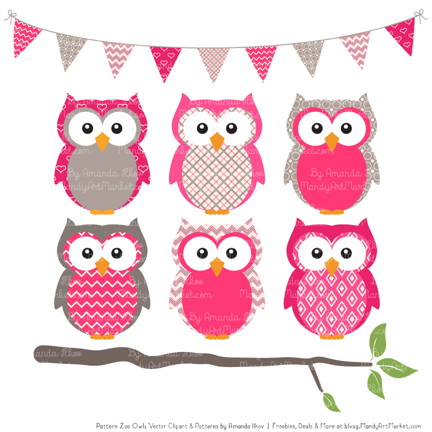Hot Pink Patterned Owl Clipart & Patterns