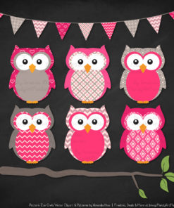 Pattern Zoo Hot Pink Patterned Owl Clipart & Patterns