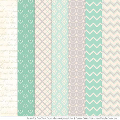 Pattern Zoo Mint Patterned Owl Clipart & Patterns