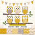 Mustard Patterned Owl Clipart & Patterns