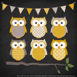 Pattern Zoo Mustard Patterned Owl Clipart & Patterns