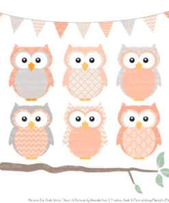Pattern Zoo Peach Patterned Owl Clipart & Patterns