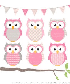 Pattern Zoo Pink Patterned Owl Clipart & Patterns