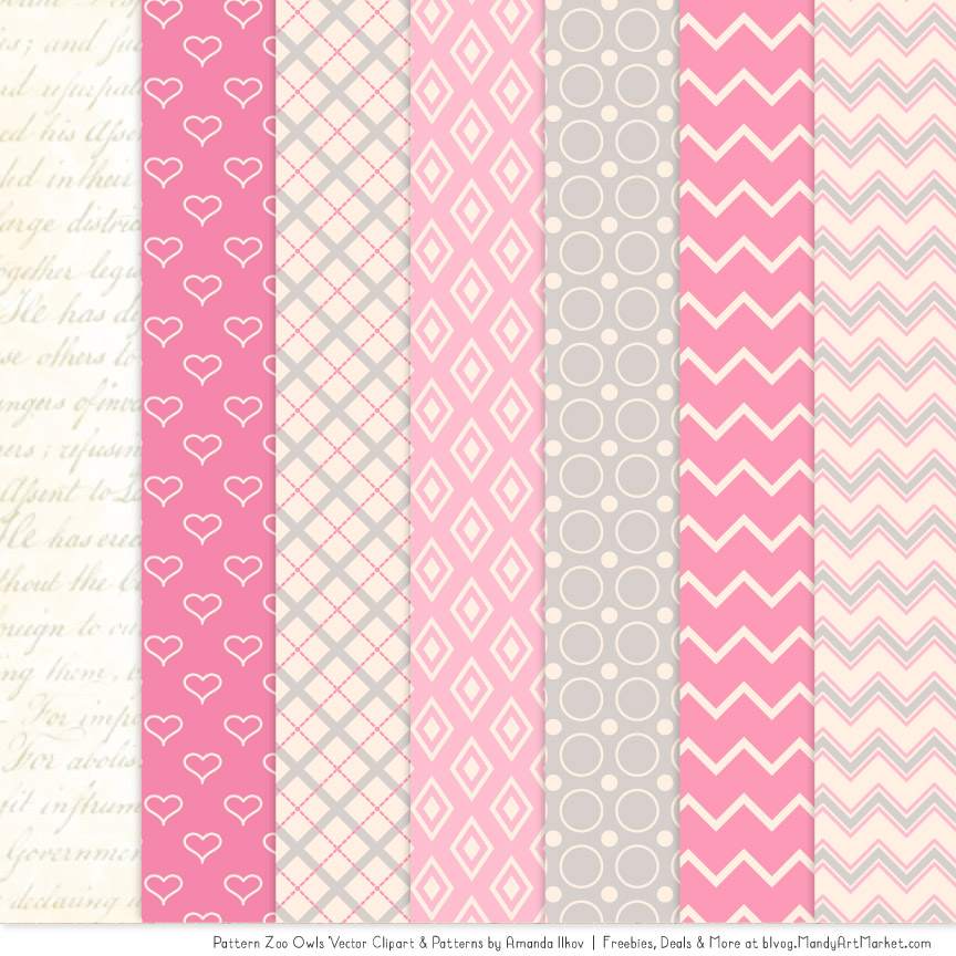 Pink Patterned Owl Clipart Patterns Simple Pink Patterns