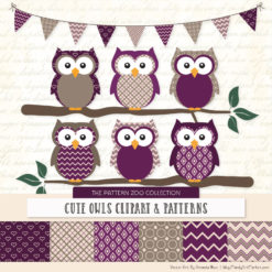 Plum Patterned Owl Clipart & Patterns