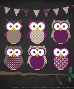 Pattern Zoo Plum Patterned Owl Clipart & Patterns