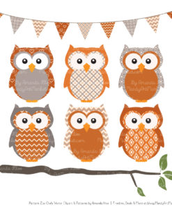 Pattern Zoo Pumpkin Patterned Owl Clipart & Patterns