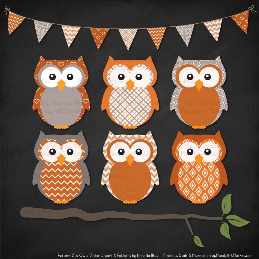 Pattern Zoo Pumpkin Patterned Owl Clipart & Patterns
