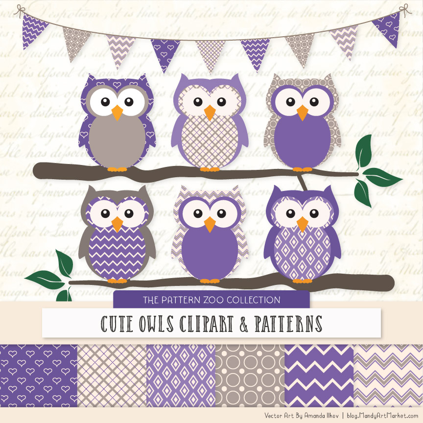 Purple Patterned Owl Clipart & Patterns