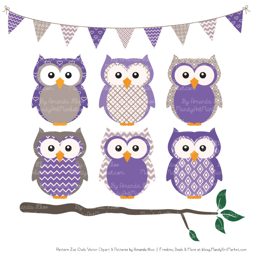 Pattern Zoo Purple Patterned Owl Clipart & Patterns