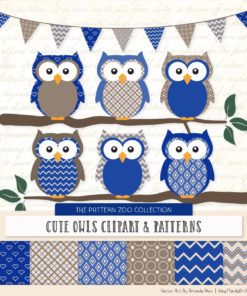 Pattern Zoo Royal Blue Patterned Owl Clipart & Patterns