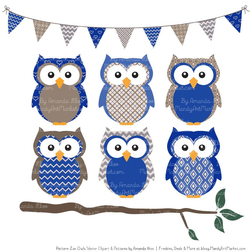 royal blue patterned owl clipart patterns rh mandyartmarket com blue baby owl clip art cute blue owl clip art