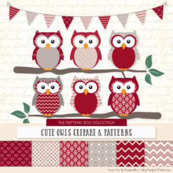 Pattern Zoo Ruby Patterned Owl Clipart & Patterns
