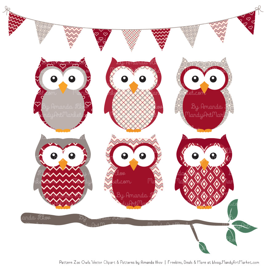 ruby patterned owl clipart patterns rh mandyartmarket com Peacock Clip Art Butterfly Clip Art