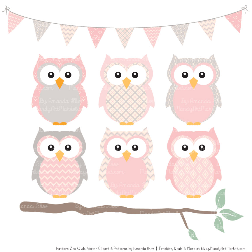 Owl pink. Soft patterned clipart patterns