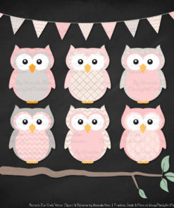Pattern Zoo Soft Pink Patterned Owl Clipart & Patterns