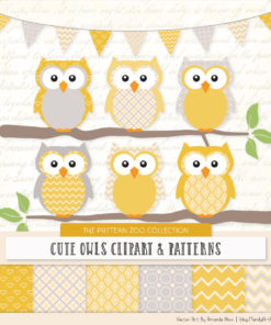 Pattern Zoo Sunshine Patterned Owl Clipart & Patterns