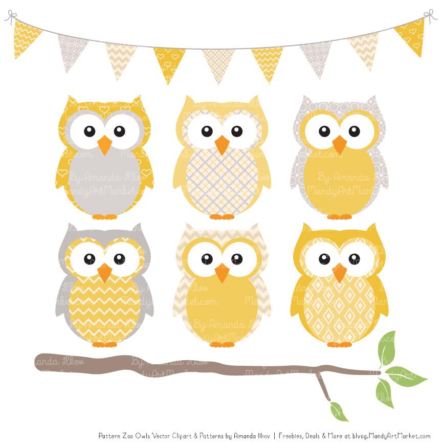 Pattern Zoo Sunshine Patterned Owl Clipart & Patterns