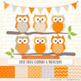 Tangerine Patterned Owl Clipart & Patterns