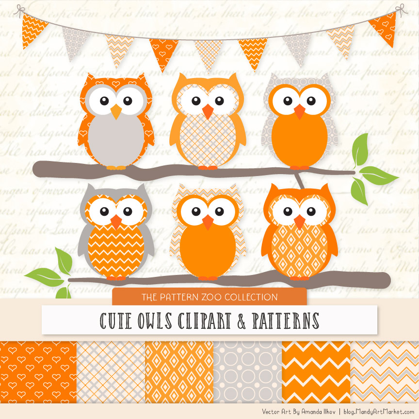 Pattern Zoo Tangerine Patterned Owl Clipart & Patterns
