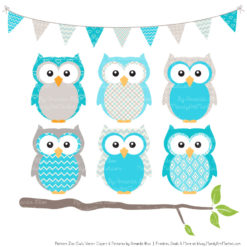 Pattern Zoo Tropical Blue Patterned Owl Clipart & Patterns