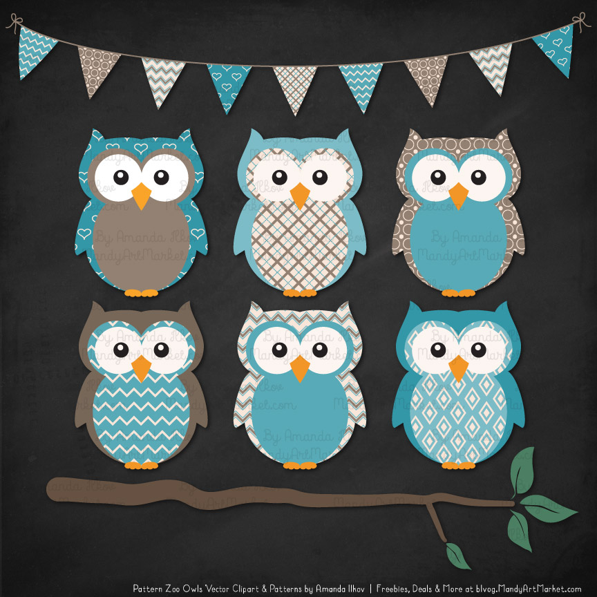 Pattern Zoo Vintage Blue Patterned Owl Clipart & Patterns