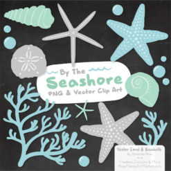 Blue & Mint Seashell Clipart