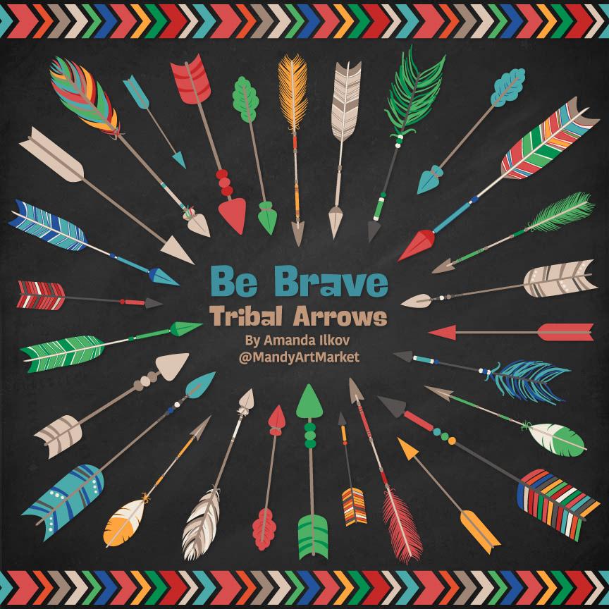 Crayon Box Boy Tribal Arrows Clipart