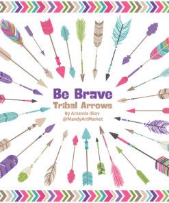 Crayon Box Girl Tribal Arrows Clipart