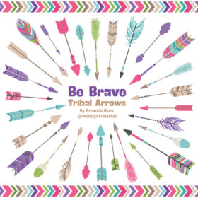 Crayon Box Girl Tribal Arrows Clipart