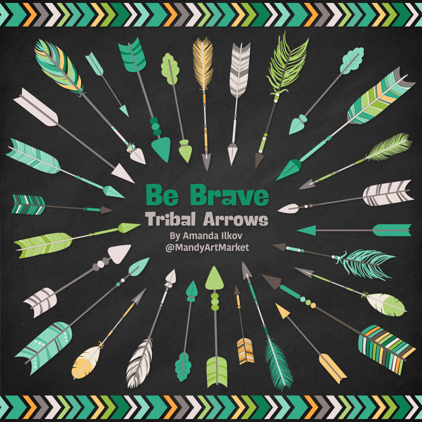 Emerald Isle Tribal Arrows Clipart