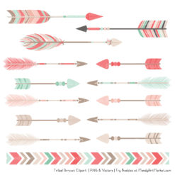 Mint & Coral Tribal Arrows Clipart