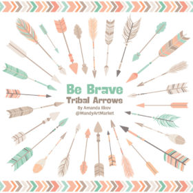 Mint & Peach Tribal Arrows Clipart