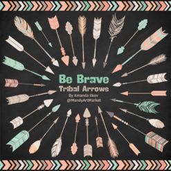 Mint & Peach Tribal Arrows Clipart