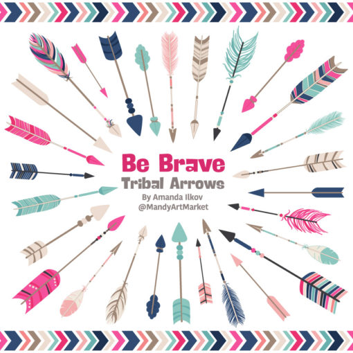 Navy & Hot Pink Tribal Arrows Clipart