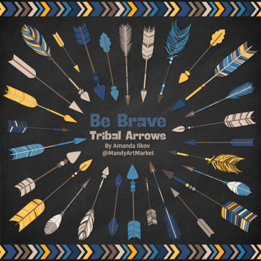 Navy & Lemon Tribal Arrows Clipart