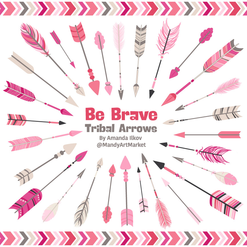 Pink Tribal Arrows Clipart