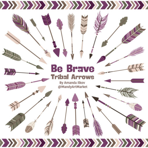 Plum Tribal Arrows Clipart