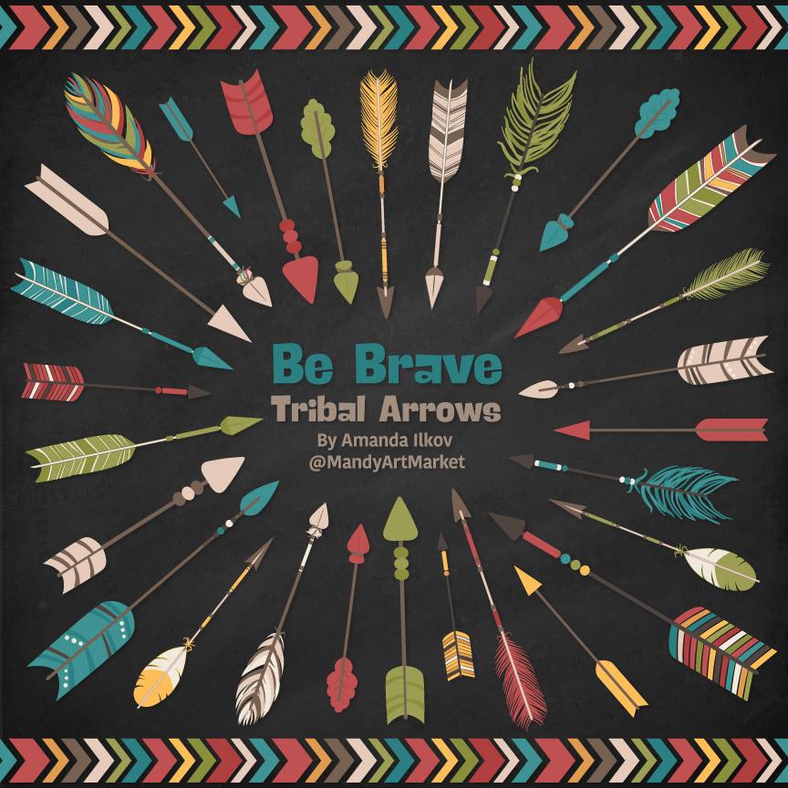 Retro Bold Tribal Arrows Clipart