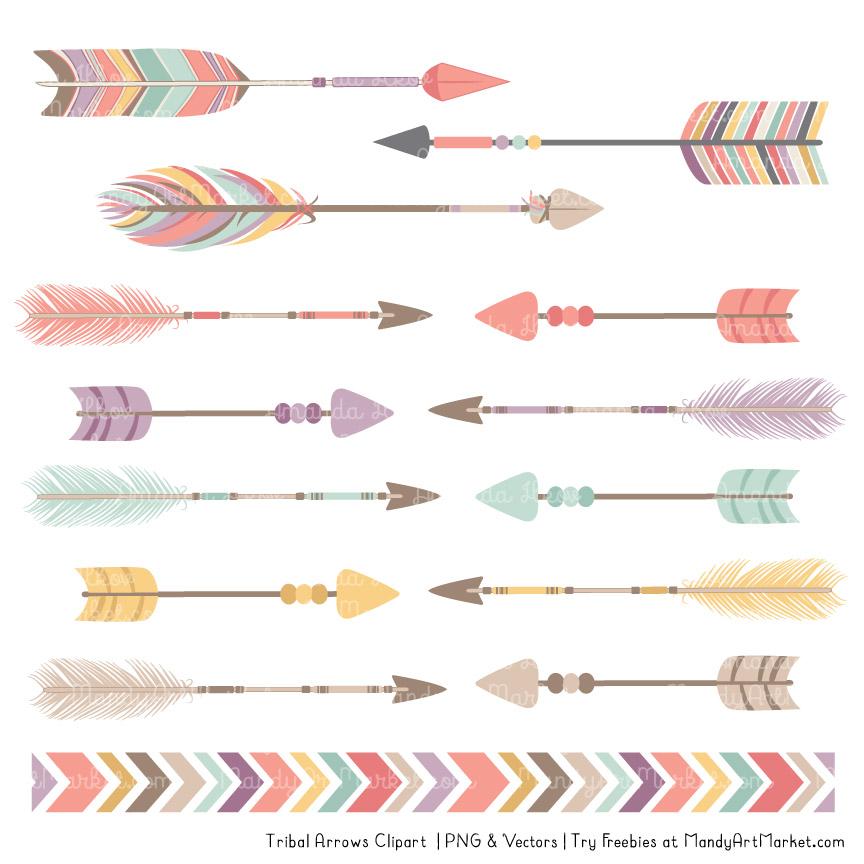 Vintage Girl Tribal Arrows Clipart