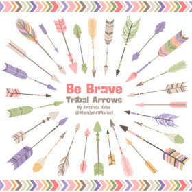 Wildflowers Tribal Arrows Clipart