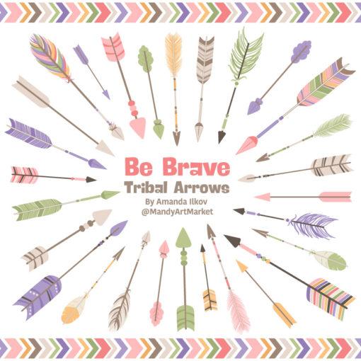 Wildflowers Tribal Arrows Clipart