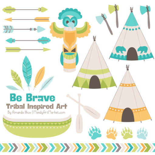 Land & Sea Tribal Clipart