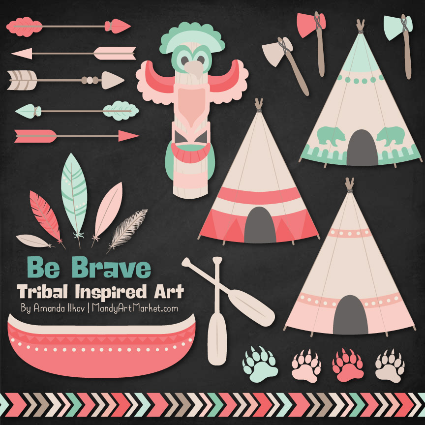 Mint & Coral Tribal Clipart
