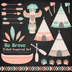 Mint & Peach Tribal Clipart