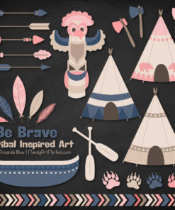 Navy & Blush Tribal Clipart